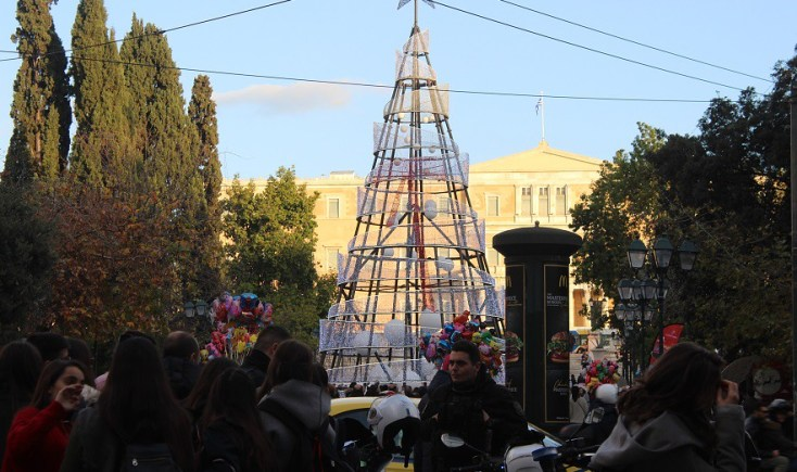 Syntagma Square in December, Atena, Greece