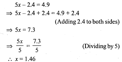 Selina Concise Mathematics Class 6 ICSE Solutions - Simple (Linear) Equations (Including Word Problems) - r10