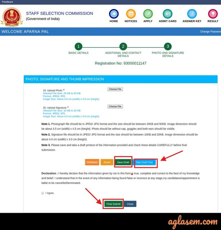 SSC CHSL Application Form 2019 - Upload photo and Signature