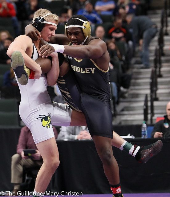 195AA Semifinal - Ty Moser (Perham) 46-0 won by tech fall over Josh Franklin (Fridley) 33-5 (TF-1.5 3:12 (18-3)). 190302AMC3372