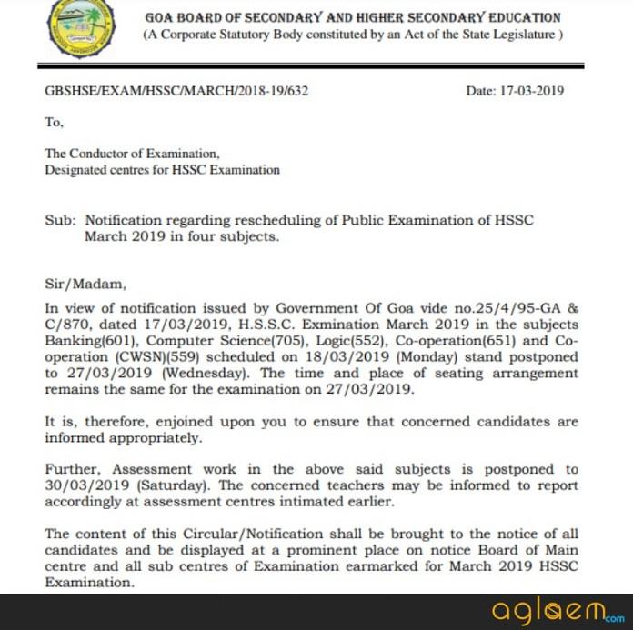 Goa Board HSSC Time Table 2019