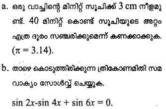 Plus One Maths Model Question Papers Paper 4Q19