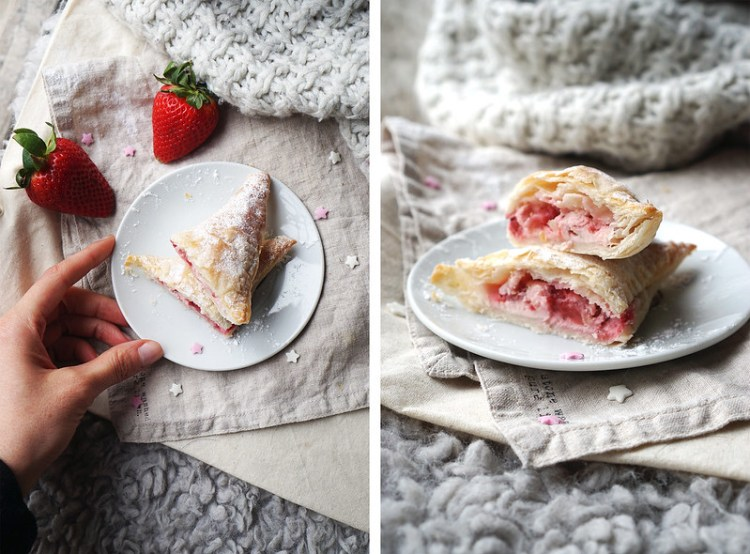 Gluten free strawberries and cream turnovers made with Jus-Rol gluten free puff pastry