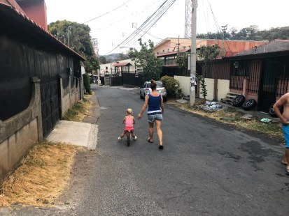 Isa learning to ride her bike in San Jose