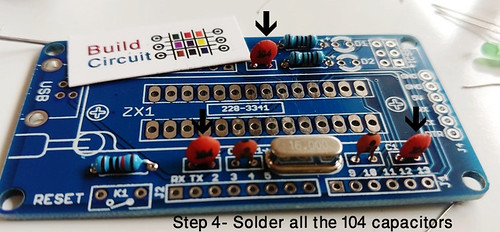 Step 4- Solder all the 104 capacitors