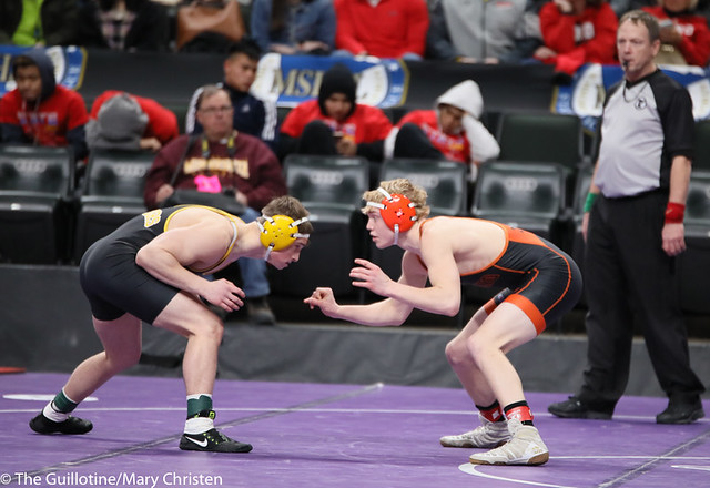 145AA 5th Place Match - Tanner Kroells (Delano) 34-4 won by decision over Tucker Gifferson (Hutchinson) 29-8 (Dec 4-1). 190302BMC3706