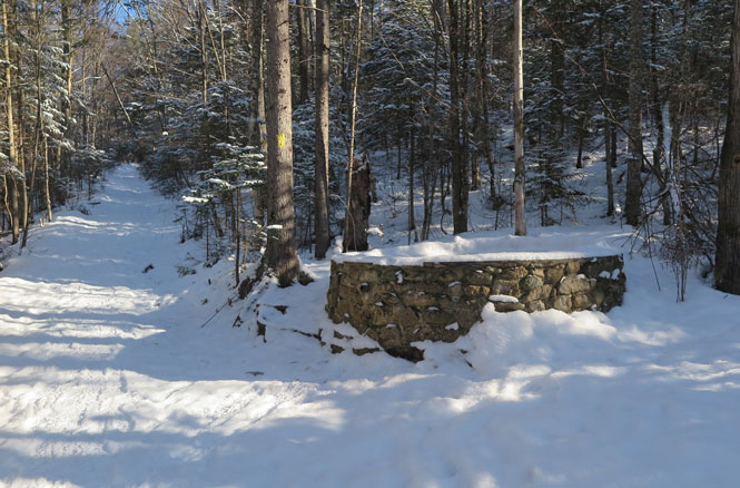 Starr King Trail Springhouse Foundation on a Winter Hike