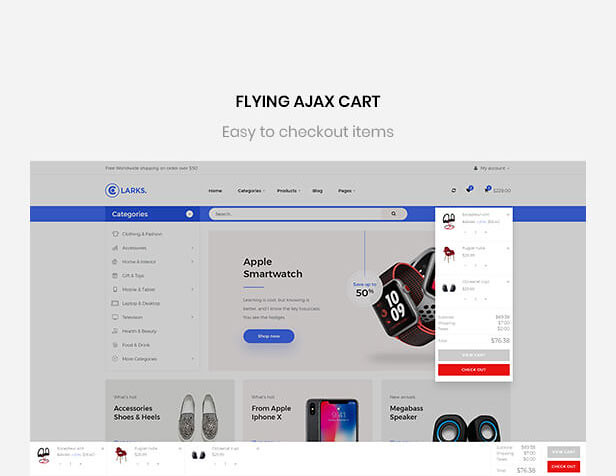 Leo Clarks Amazing Flying Ajax Cart - Mutltistore PrestaShop Theme