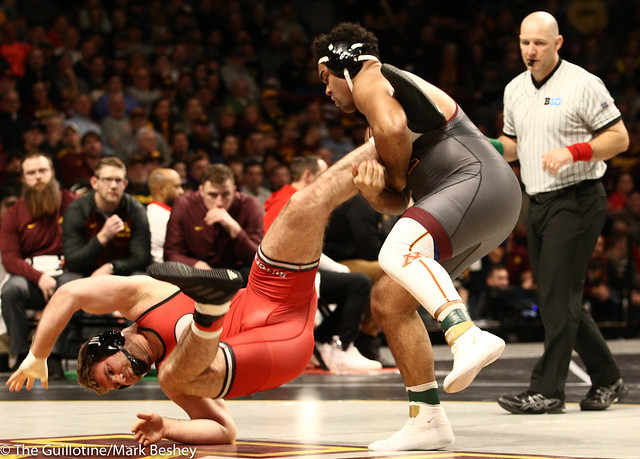 Champ. Round 1 - Gable Steveson (Minnesota) 29-0 won by tech fall over Christian Colucci (Rutgers) 15-12 (TF-1.5 6:38 (21-6)) - 1903amk0211