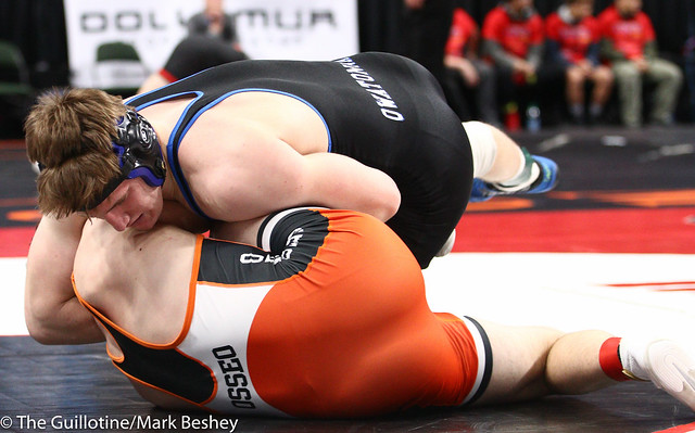 182 - Quarterfinal - Cade King (Owatonna) 42-4 won by fall over Jacob Meissner (Osseo) 35-6 (Fall 1:04) - 190301amk0028