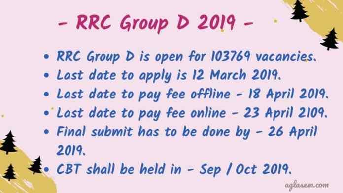 RRC Group D 2019 Application Form