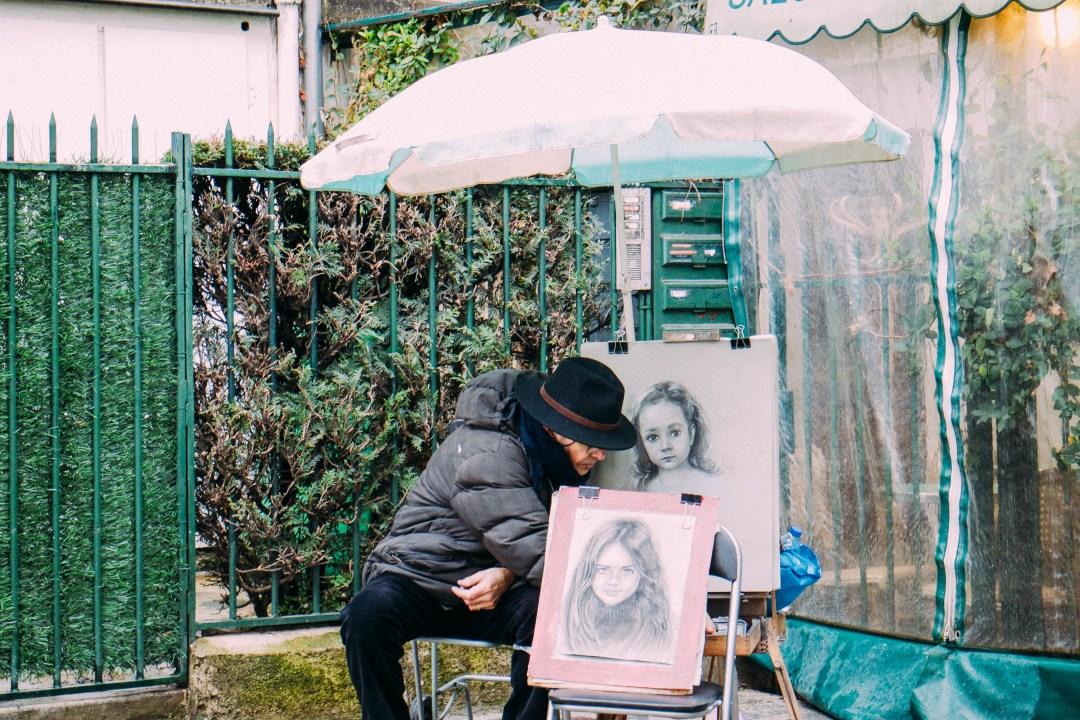 Artisti di strada a Montmartre