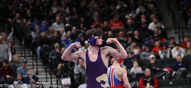152AA Semifinal - Tim Stapleton (Waconia) 43-2 won in sudden victory - 1 over Gavin Nelson (Simley) 44-7 (SV-1 3-1). 190302AMC3288