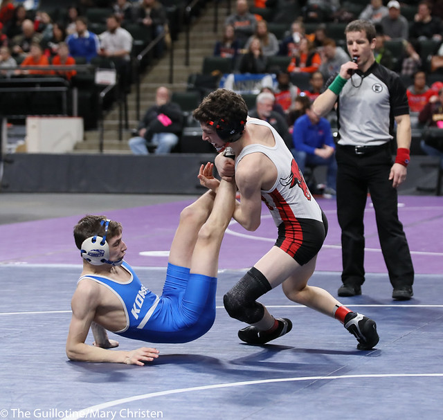113AA 3rd Place Match - Lucas Jagodzinske (Fairmont-Martin County West) 42-5 won by decision over Logan Vaughan (Kasson-Mantorville) 38-8 (Dec 9-7). 190302BMC3606