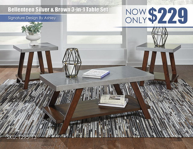 Bellenteen Silver and Brown 3 in 1 Table Set_T295-13