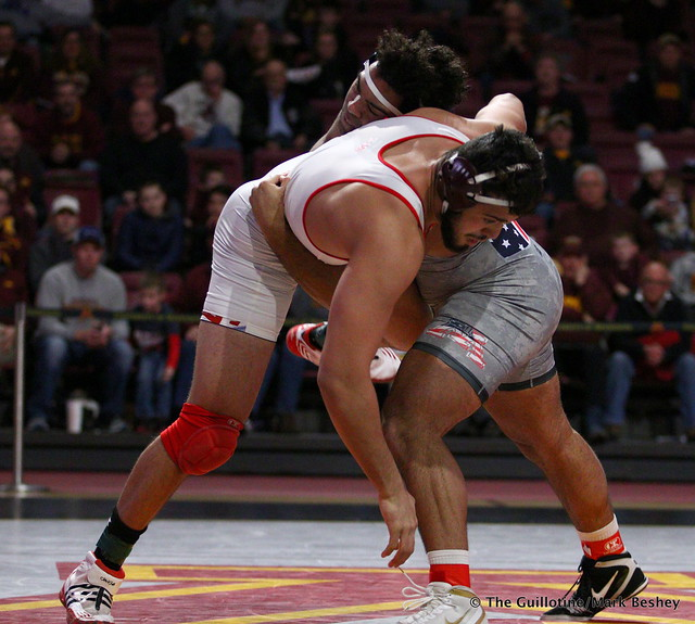 HWT: #1 Gable Steveson (Minnesota) dec. #9 Yousiff Hemida (Maryland) 7-3. 190210BMK0125
