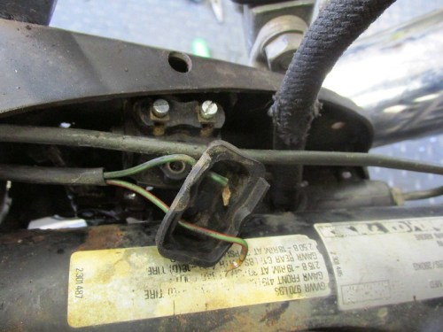 Rear Brake Light Switch Wires Removed