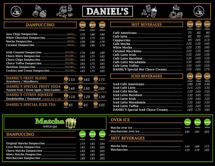 DANIEL COFFEE SHOP MENU BOARD