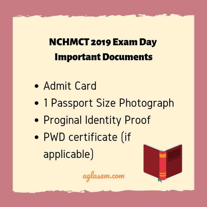 NCHMCT 2019 Important Documents to Carry