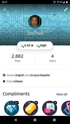 Josh Overmyer's Uber Profile