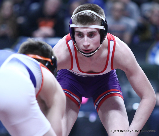 132A 1st Place Match - Jackson Hale (Grand Meadow-Leroy-Ostrander- Southland) 41-3 won by decision over Mason Gode (LPGE-Browerville Wolves) 50-1 (Dec 3-0). 190302CJF0282