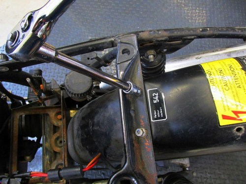 Removing Front Fender Mount Lock Nuts on Cross Brace