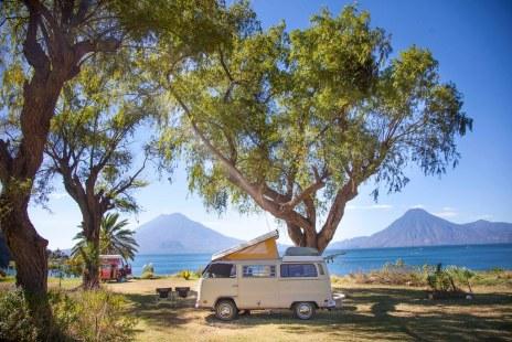 Our two busses at Lake Atitlan, Guatemala