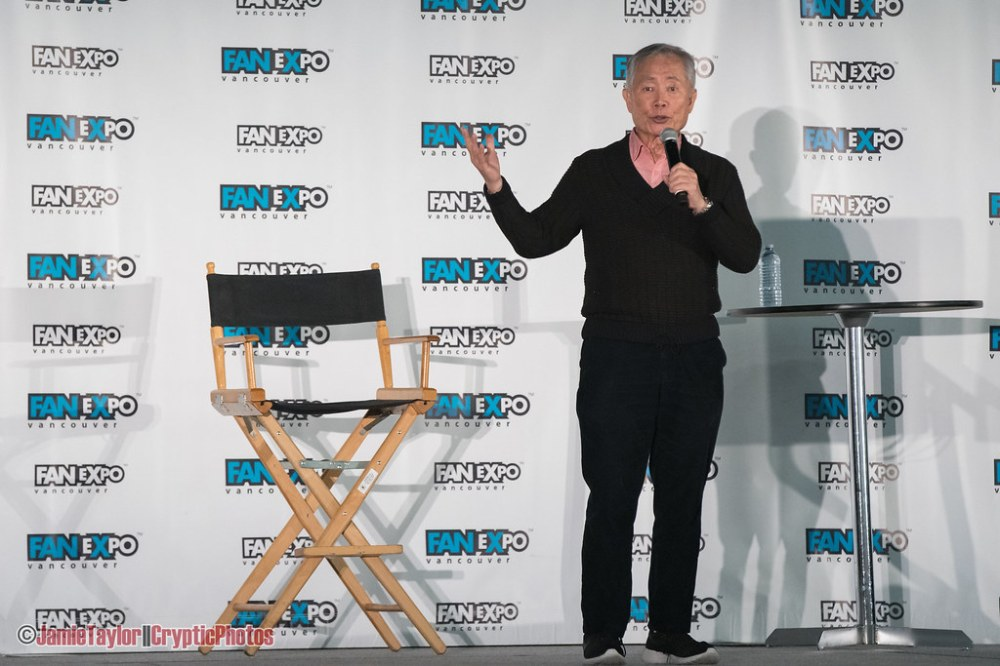 Star Trek alumni George Takei during a panel at Fan Expo Vancouver at Vancouver Convention Centre on March 2nd 2019