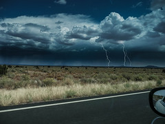 Thunderstorm on the way from the Grand Canyon to Flagstaff