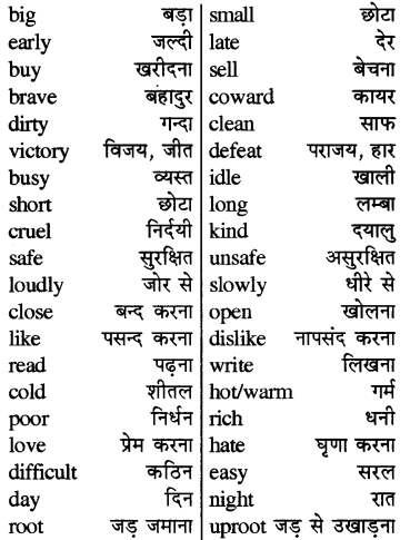 RBSE Solutions for Class 5 English Vocabulary Antonyms Opposites 14