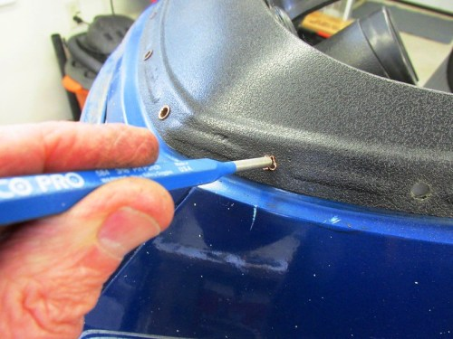 Using Punch with Hammer To Push Out Dash Rivets