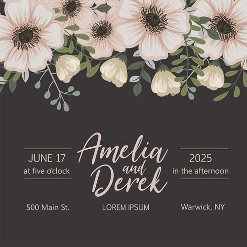 Botanical wedding invitation card template design on dark background, vintage style