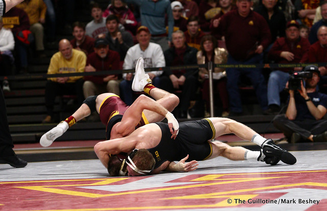 157 #5 Kaleb Young (Iowa) dec. 9 Steve Bleise (Minnesota) 7-1. 190113AMK0021