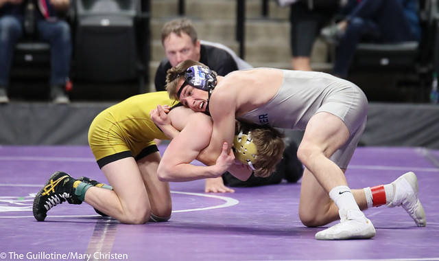 126AA 5th Place Match - Jake Nelson (Becker) 42-5 won by decision over Gabe Bellefeuille (Perham) 37-19 (Dec 5-0). 190302BMC3663