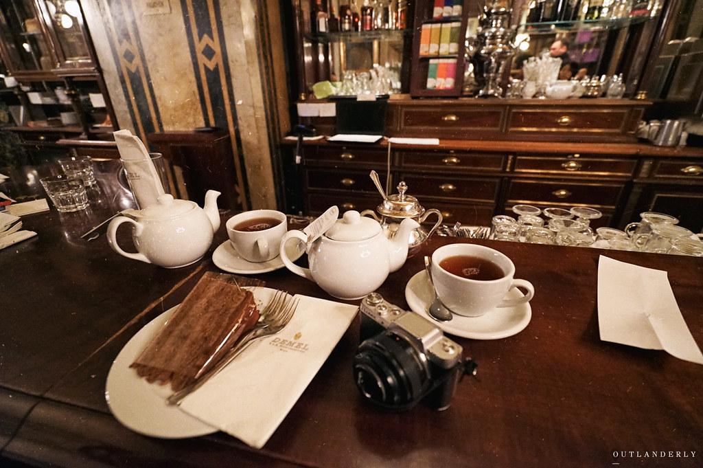 Demel's cafe cake and tea
