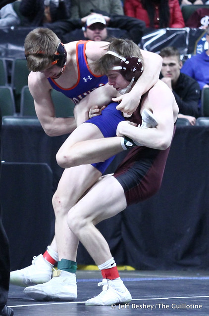 132A Semifinal - Mason Gode (LPGE-Browerville Wolves) 50-1 won by decision over Taylor DeFrang (Dover-Eyota) 41-8 (Dec 4-1). 190302AJF0294