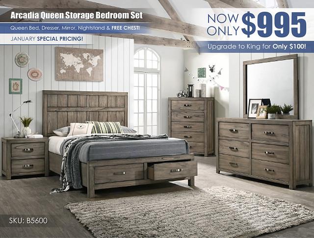 Arcadia Gray Bedroom Set_January_B5600