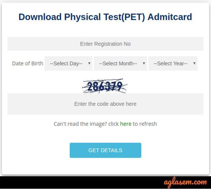 RRB Group D PET Admit Card