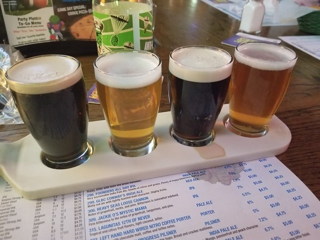2019 Winking Lizard World Tour of Beers #2 - January Paddle  Consists of, from left to right: Left Hand Hard Wired Nitro Coffee Stout Columbus Brewing Company Bodhi Guinness Rhinegeist Truth