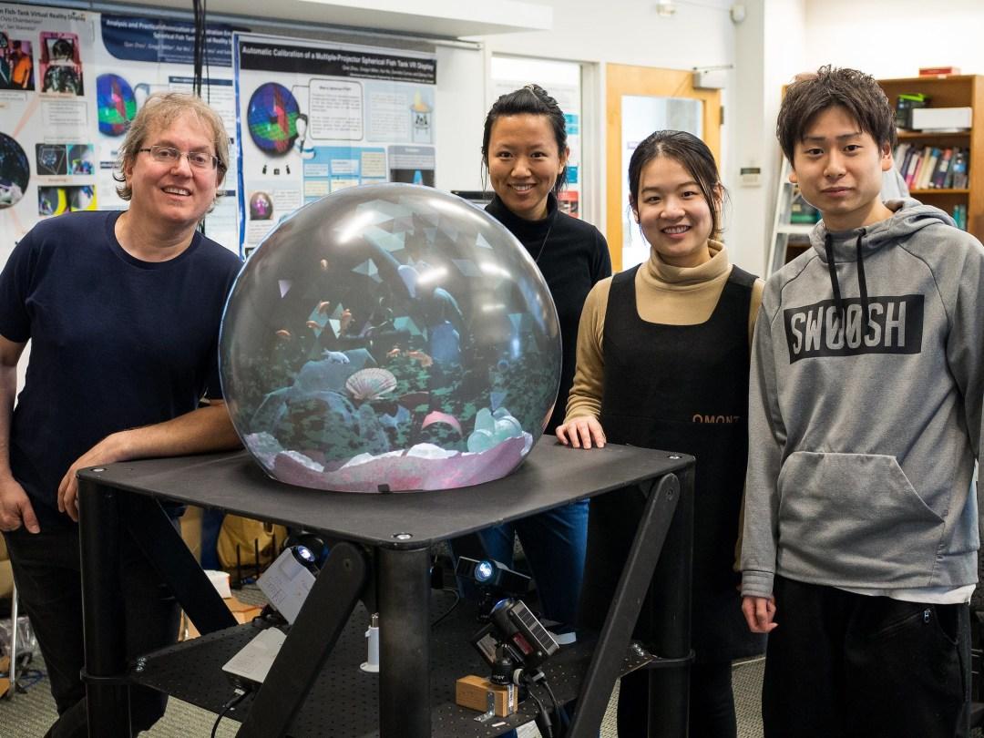 Virtual reality spherical display
