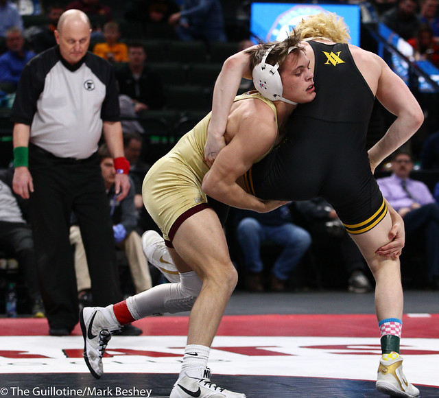 132AAA 1st Place Match - Trayton Anderson (Northfield) 54-1 won by decision over Adam Mickelson (Apple Valley) 36-8 (Dec 3-2) - 190302bmk0152