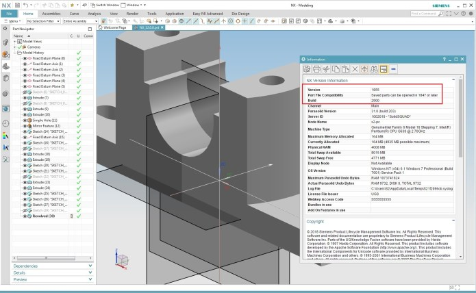 Working with Siemens NX 1855 full license