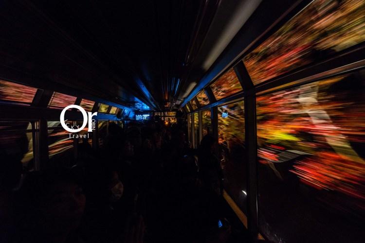 京都賞楓景點 叡山電車楓葉隧道,期間限定的夜楓列車,打燈後的夜楓有不同味道在,彷彿整個車廂都被楓葉包圍了