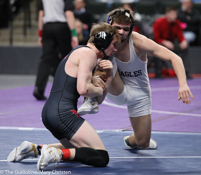 145AA 3rd Place Match - Sean Howk (New Ulm Area) 45-3 won in sudden victory - 1 over Payton Anderson (Fairmont-Martin County West) 45-9 (SV-1 4-2). 190302BMC3778
