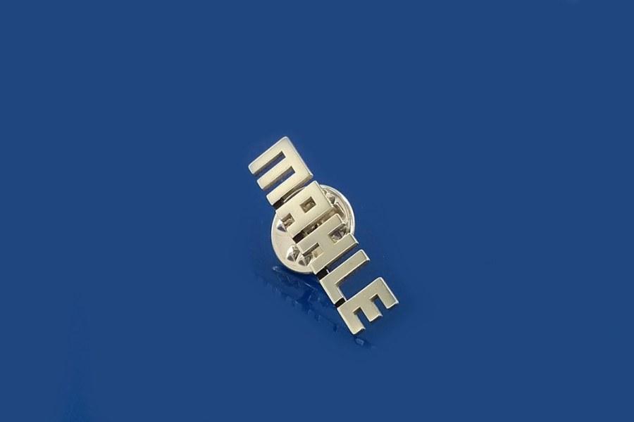 pins wycinany ze srebra, zapięcie typu motylek