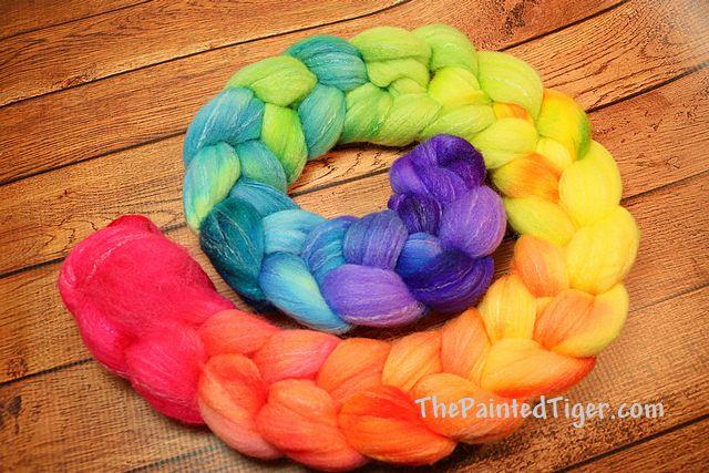 Tropical Rainbow Gradient Fade Targhee Bamboo Silk