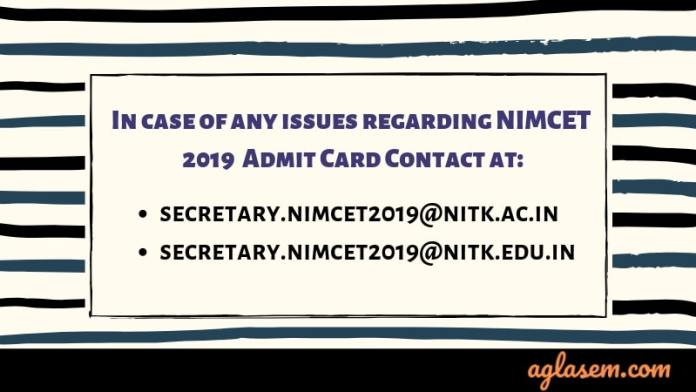NIMCET 2019 Admit Card