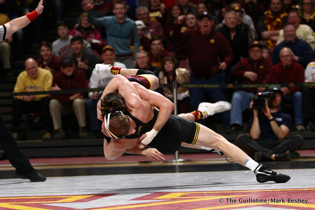 157 #5 Kaleb Young (Iowa) dec. 9 Steve Bleise (Minnesota) 7-1. 190113AMK0020