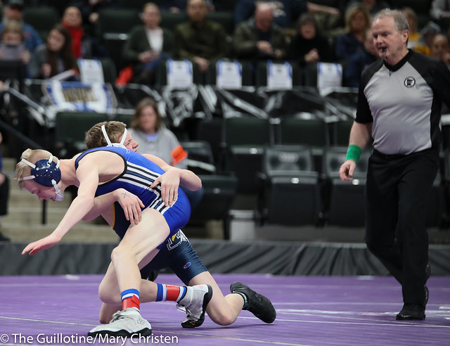 106 – Avery Nelson (Mora) over Rameses Peterson (Totino-Grace) TF 16-1. 190228BMC1840