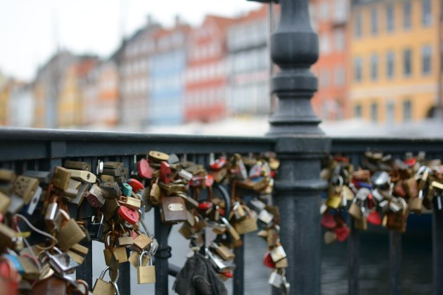 Love locks on Nyhavn Canal